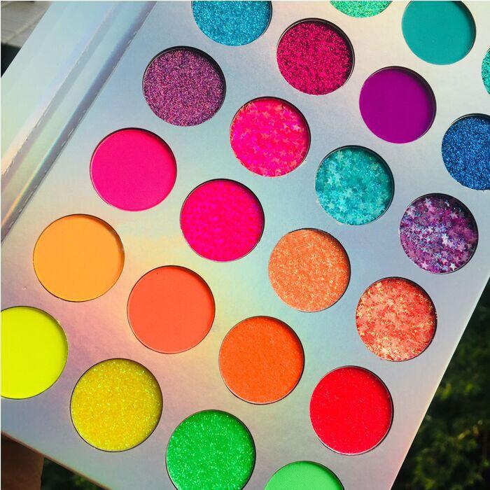 Glow In The Dark Eyeshadow Palette Glitter Neon Pigmenten Oogschaduw Palet Private Label Make Loose Neon Oogschaduw