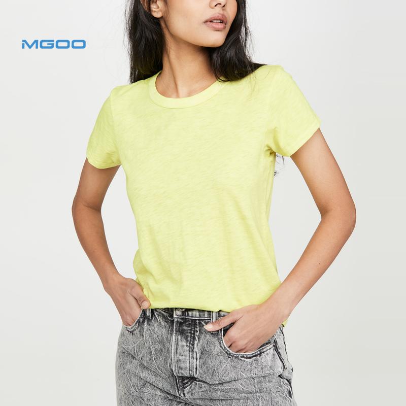 Lime Green Lichtgewicht Voorgesponnen Jersey Neon Kleur 100% Katoen Leuke T Shirts Voor Vrouwen