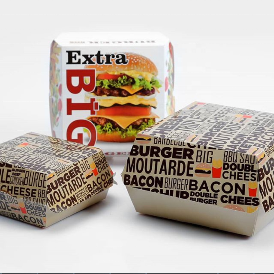 Custom design papier verpackung hamburger box