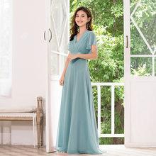 Женское длинное шифоновое платье Beauty-Emily, платье подружки невесты с v-образным вырезом и молнией сзади, элегантное платье для выпускного веч...(Китай)