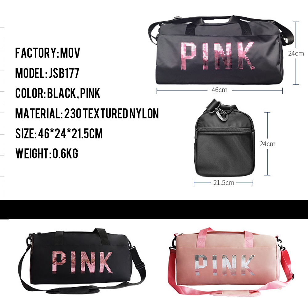 pink Duffel Gym bag weekender Waterproof Travel Bags with Shoe Compartment Spend night bag women girl ladies fashion bag