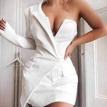latest fashion design elegent women one shoulder short casual dress