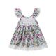 Boutique Kids hot sale Amazon clothing wholesale Floral Print Soft Newborn Baby girl blue dress