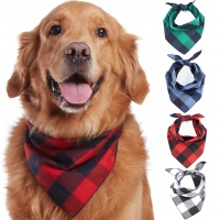 Hot Sale Wholesale Custom Pet Printed Plaid Triangle Dog Collar Bandana