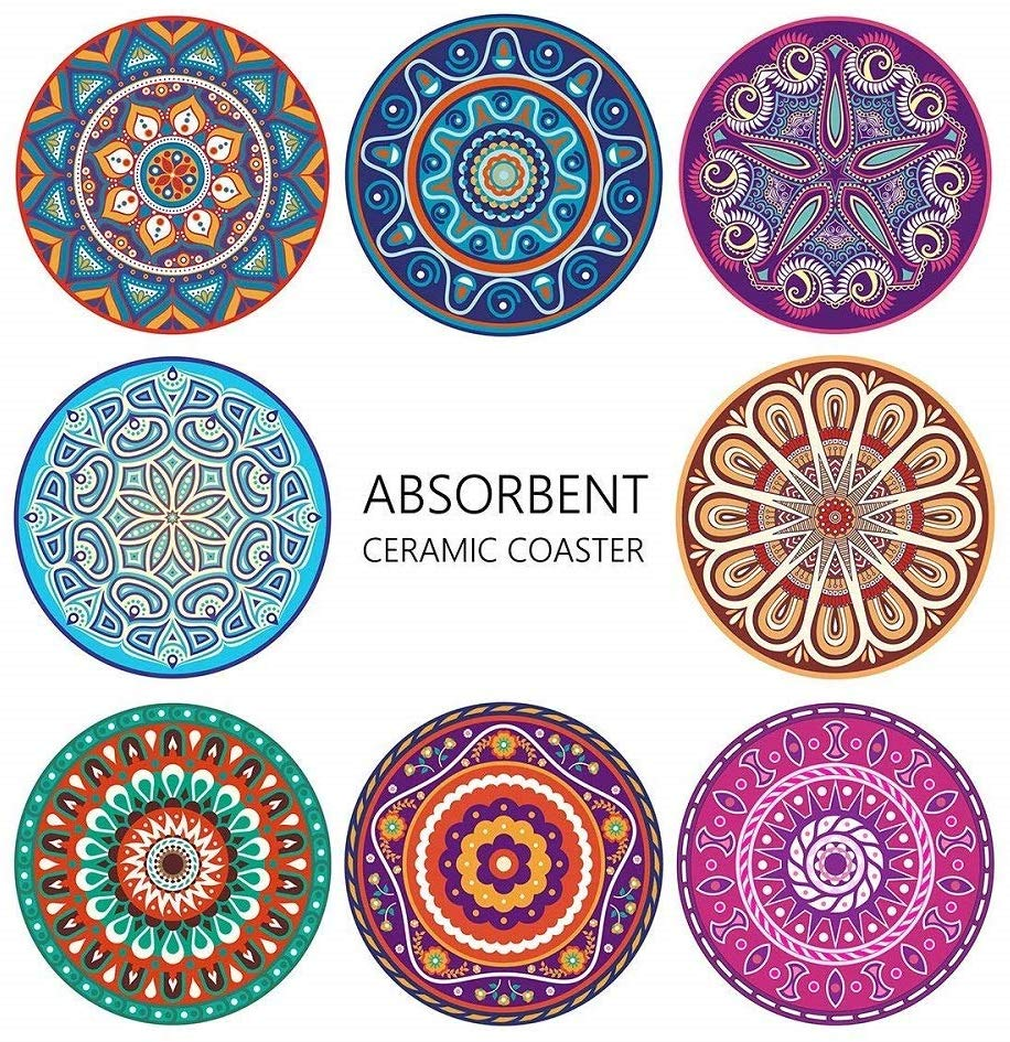 Absorbing Stone Mandala Coasters For Drinks Cork Base With Holder Apartment Kitchen Room Bar Decor Set Of 8 Buy Coaster Set Coaster Set With Holder Coaster Set Product On Alibaba Com