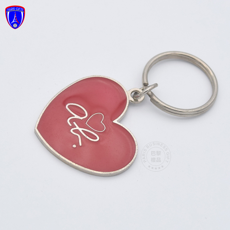 OEM red heart shape silver plating keychain hook laser engraved epoxy dome sticker keyrings custom self defense keychain