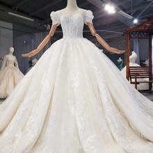 HTL1736 свадебное платье с кружевной аппликацией, расшитое кристаллами, с блестками 2020 размера плюс, со шнуровкой сзади, с круглым вырезом, пышн...(China)