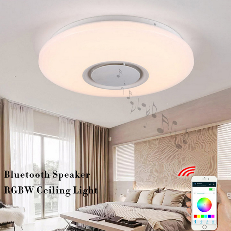 Smart 30W Bluetooth LED Ceiling Lamp with Bluetooth Speaker 85V-265V RGBW Phone APP Control 40*40*10cm