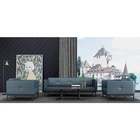 Office Living Room Italian Modern Style Blue Leather Lounge Suite Sofa Set with Arm