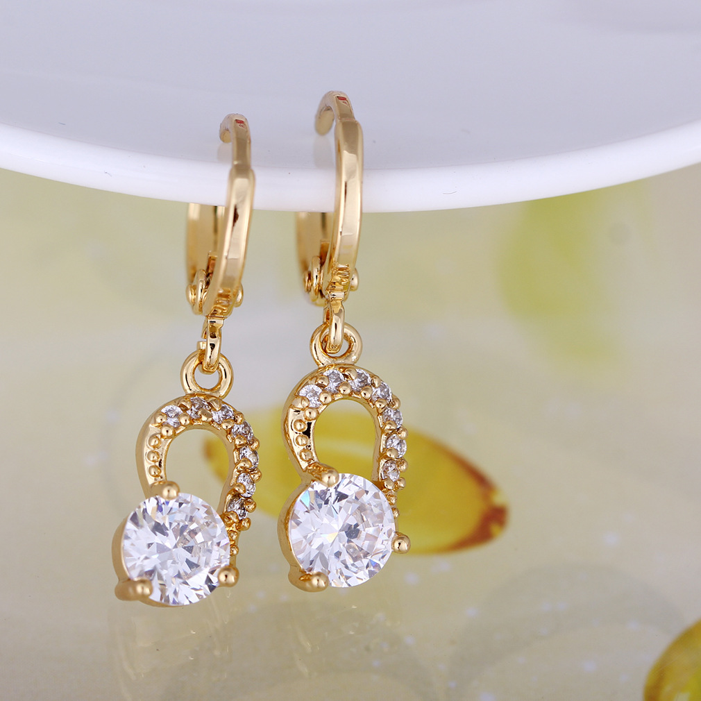 Wholesale Popular inlay zircon drop earrings 18 K Gold Plated Fashion earrings jewelry for women gifts