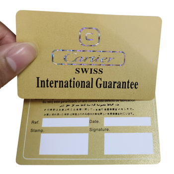 Hologram plastic pvc guarantee gift card signature panels print gold silver foil background membership cards maker