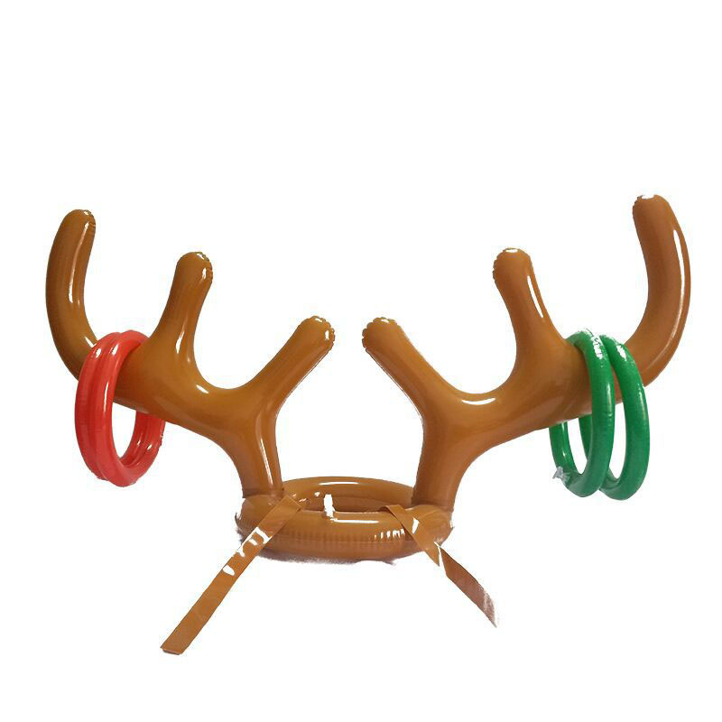 Christmas Holiday Party Game Supplies Toys Inflatable Santa Funny Reindeer Antler Hat Ring Toss