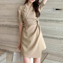 Корейские платья для Homecoming, 2020, ассиметричные мини-платья с ремнем и перекрестными кнопками, черные, цвета хаки, с короткими рукавами, праздн...(Китай)