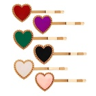 No Slip Metal Gold Clip Multi Color Enamel Alloy Heart Hair Accessory Ladies Hairpin RS19H02