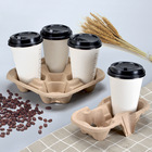 Disposable To Go Coffee Cup Holder Tray Bubble Tea Cup Holder Pulp Moulded Paper Cup Carrier