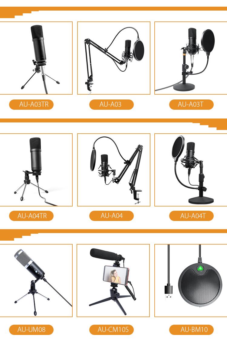 Condeser musica microfoni di registrazione studio xlr podcast microfono con ajustable del basamento