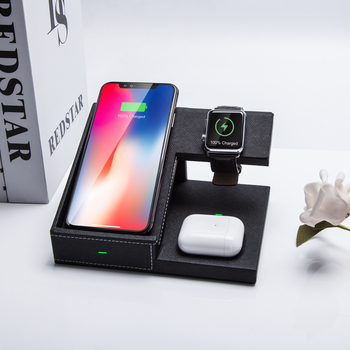 Universal Wireless Qi Charger Stand 3 in 1, Mobile Wireless Charger Fast 10W for Airpod and smartphone