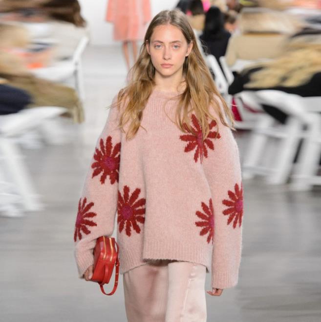 100% algodón peinado Rosa intarsia cuello redondo suéter para mujeres invierno