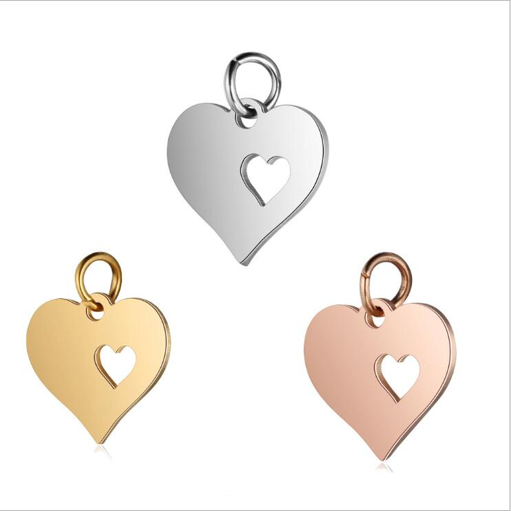Custom accessories love hollow heart stainless steel jewelry engravable blanks tags charm pendent for necklace