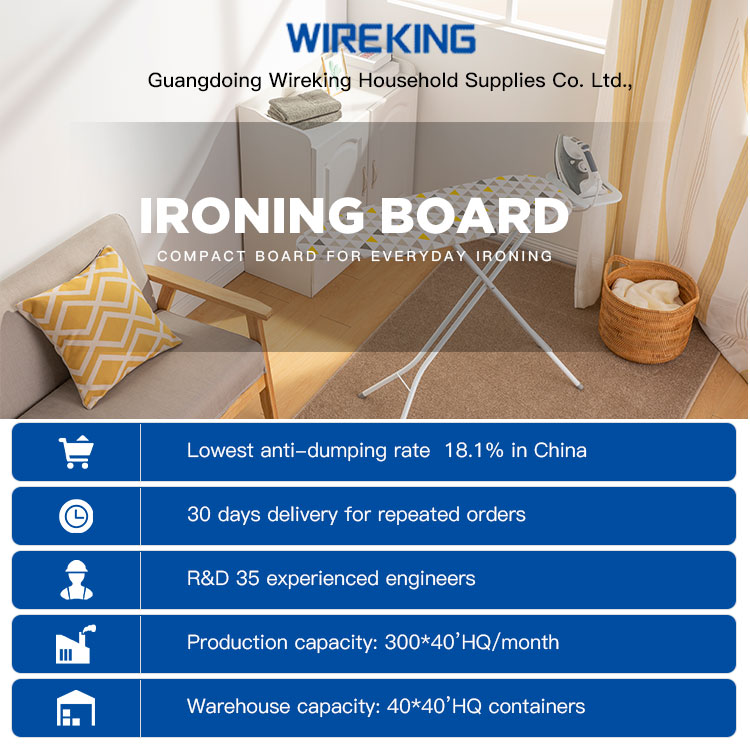 WireKing Hot Sale Multifunction Mesh Top Ironing Board With Retractable Iron Rest and Cable Holder