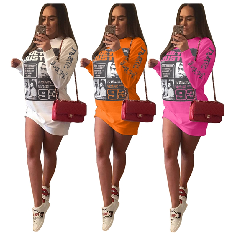 printed long sleeve high neck casual dress women sweatshirt dress for autumn