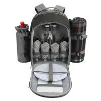 4 Person Picnic Bag Backpack/Insulated Picnic Basket with Detachable Bottle/Wine Holder& picnic Blanket