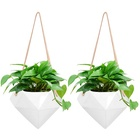 2 Packs 4 Inches White Ceramic Hanging Planter Porcelain Wall Decor Flower Pots for Succulents Air Plant Gift Garden