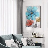 100%Handmade Flower Painting Abstract Canvas Wall Art Home Decoration Framed Artwork Ready to Hang