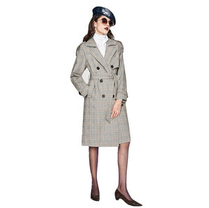 2019 fashion autumn solid ladies double-breasted swallow gird formal casual temperament elegant women suit trench coat
