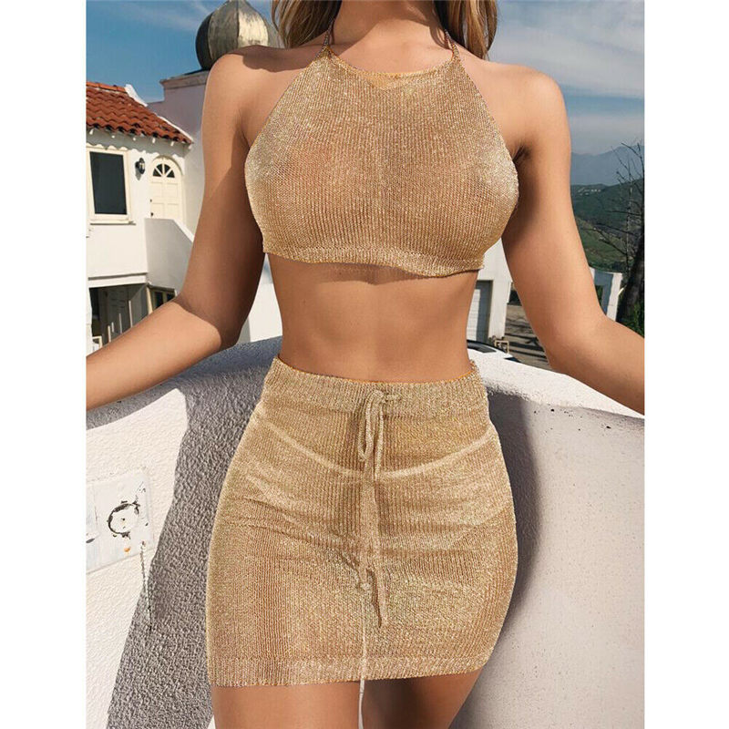 2019 Sexy Women <strong>Bikini</strong> <strong>Cover</strong> <strong>Up</strong> Set See Through Mesh Top+Skirt Swimming Bathing Suit Beachwear Swimsuit Swimwear <strong>Cover</strong> <strong>Up</strong> 2pcs