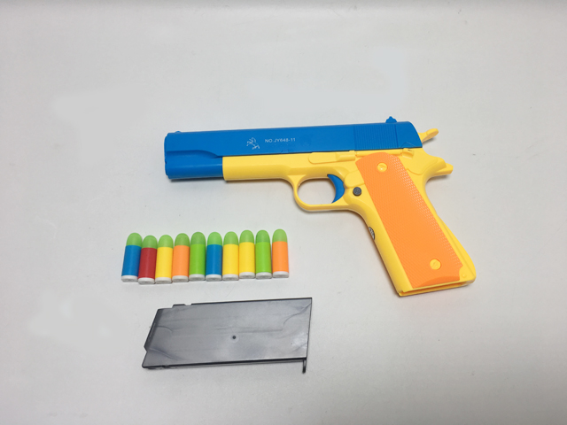Shooting toy pistol with luminous colorful bullets