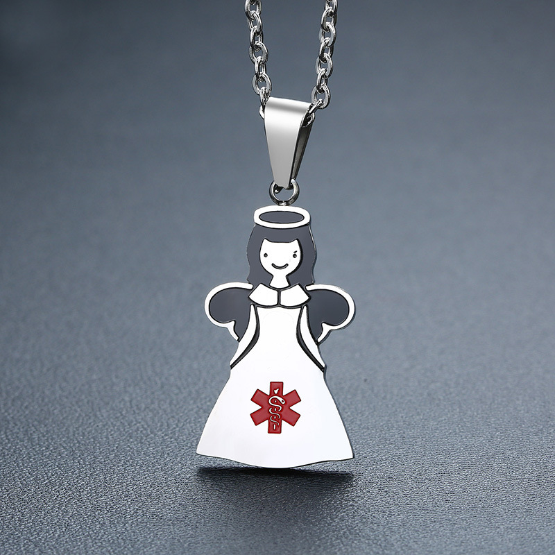 JSF1288 Trade Assurance 2020 Latest Stainless Steel Enamel Little Girl Angel Pendant Medical Symbol Women Necklace Jewelry