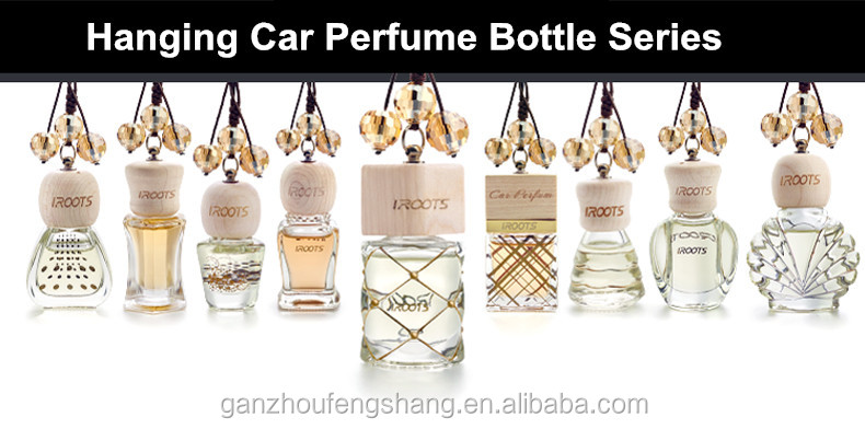 6ML Round Bottle Hanging Car Air Freshener Car Perfume Bottle With Wooden Lid