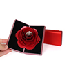 Custom Printed Velvet Materials Square Foam InsertsHigh Quality Foldable Red Rose Ring Box Jewelry Box