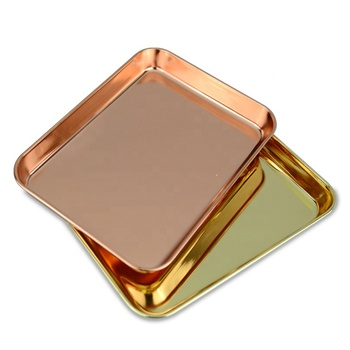 Manufacturers Rose Gold Rectangle Serving Metal Tray Stainless Steel Custom Rolling Tray