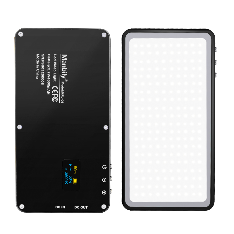 Manbily MFL-06 Bi-color Ultra-thin LED Dual color temperature OLED screen camera light pocket fill light can be power bank