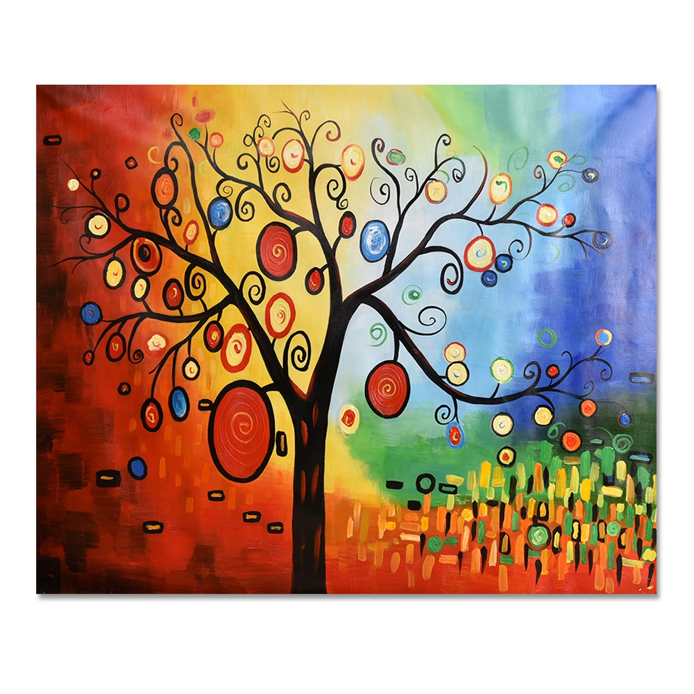 Guest Room Hanging Palette Knife Abstract Lucky Art Modern Apple Money Tree Oil Painting