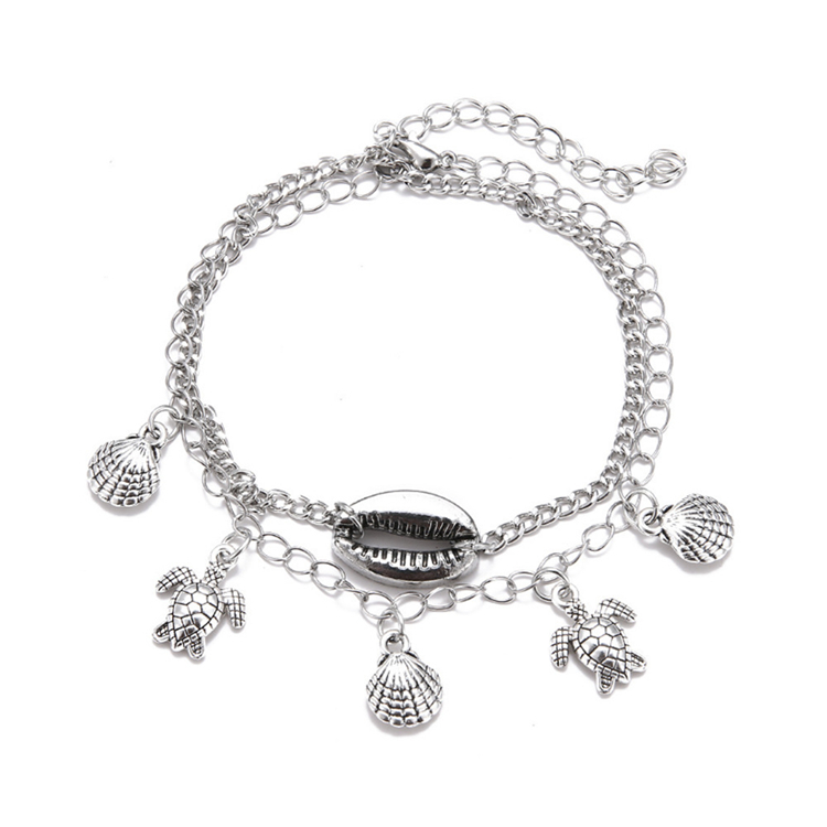 Fashion Women Jewelry New Design Fancy Starfish Shell Turtle Handmade Multilayer Anklet Foot Jewelry