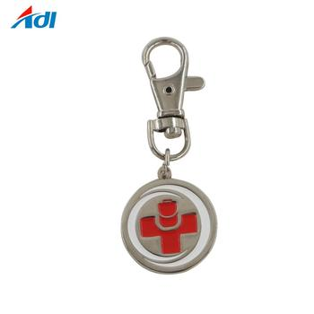 Shopping Cart Custom Wholesale Metal Euro Coin Holder Keychains
