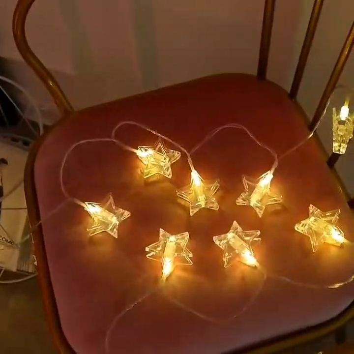 Lighting Decoration LED String Pentagram Shape Clip LED String Lights Fairy Holiday String Lights