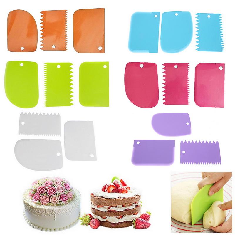 3 unids/set pastel de plástico rascador pasta Fondant raspador pastel decoración liso suave irregulares claro cuencos suave glaseado versátil Funct