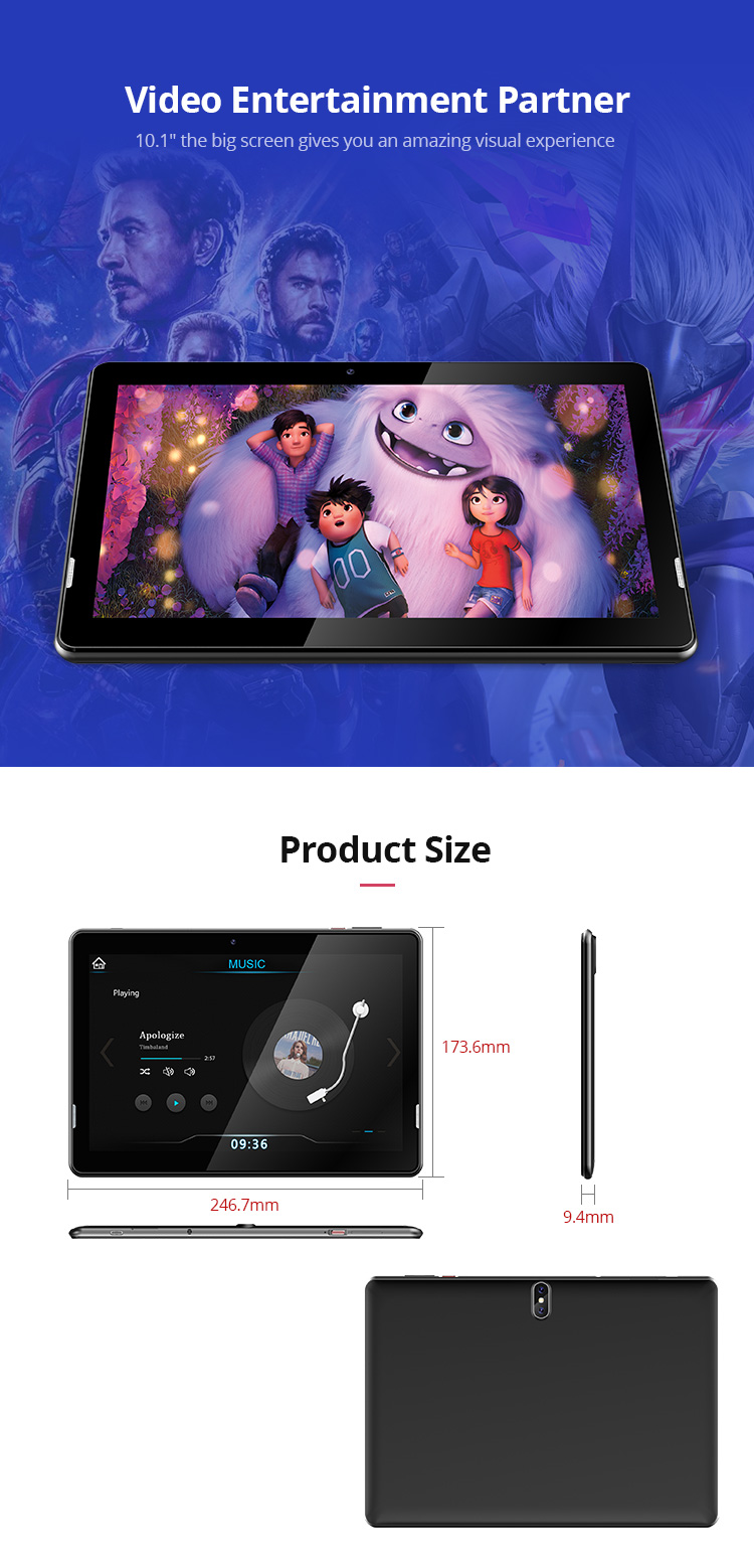 Best Price 10 Inch Slim Industrial Tablet 2GB 16GB Quad-core Android 9.0 Tablet PC for Conference