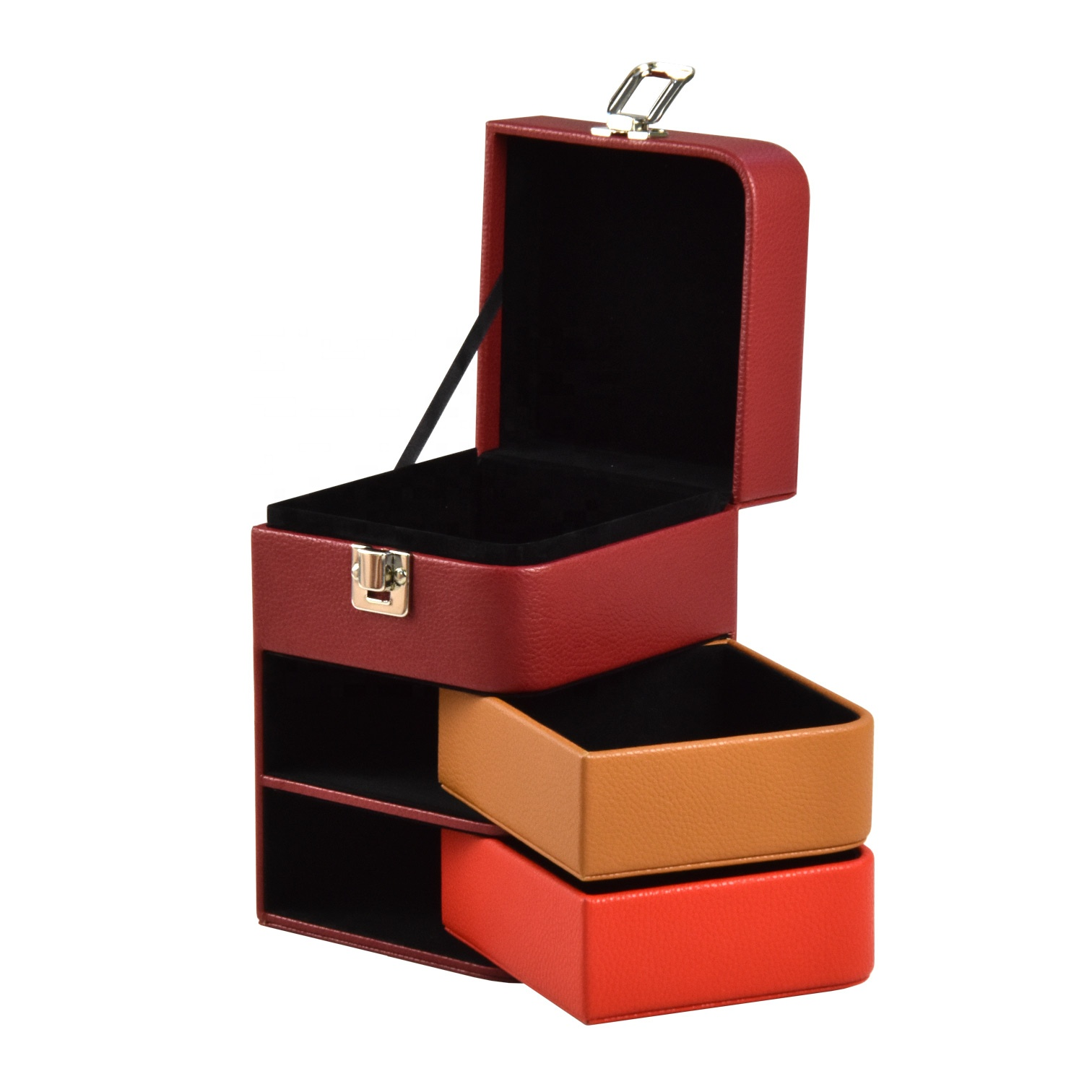 Fashionable creative personalized nice jewelry box multi drawers luxury travel jewelry case paper cardboard jewelry box