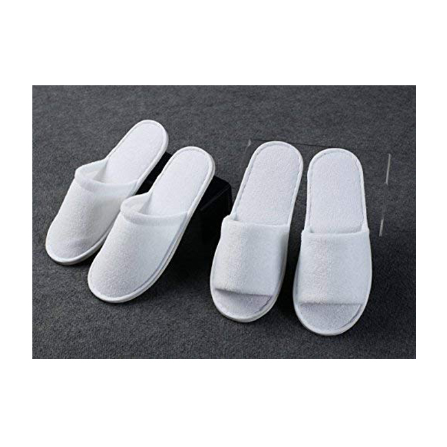 Hot new products white terry closed toe spa slippers 2018 hotel washing label slipper below one dollar