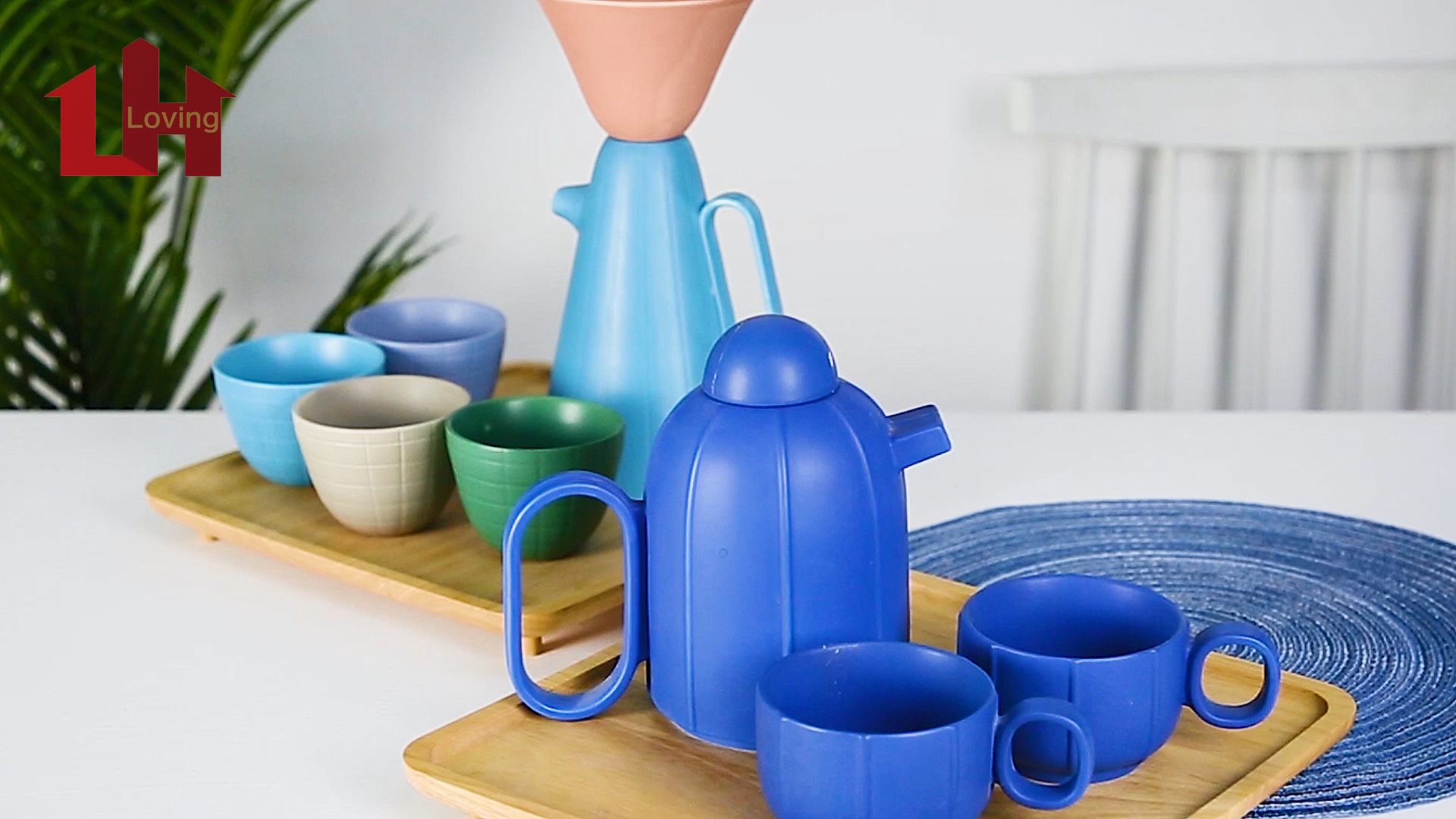 Modern unique design matte color glazed unique shaped porcelain tea pot coffee set ceramic tea set with bamboo tray