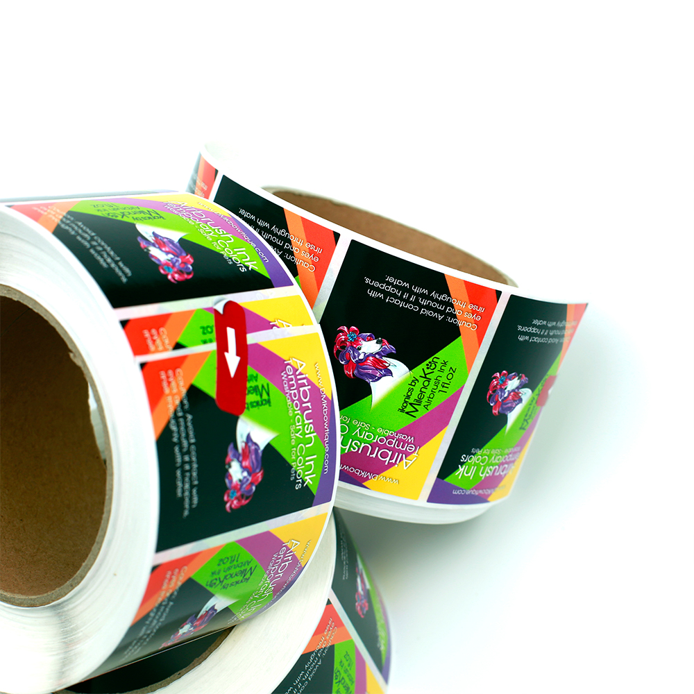 custom self adhesive roll colorful printing packaging sticker matte effect synthetic paper labels for essential oil