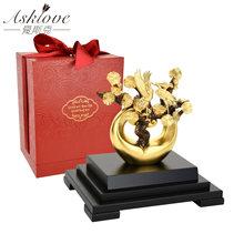 Статуэтки фэн-шуй из золотой сосны, китайские статуэтки фэн-шуй, скульптура из золотой фольги, статуэтки с красной короной, украшения для до...(Китай)