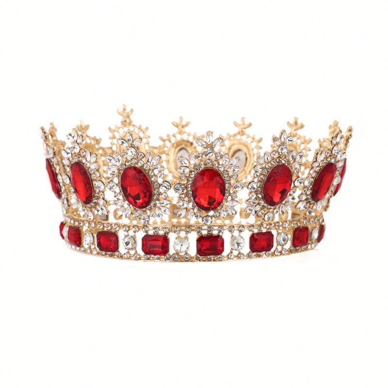 Bridal Eropa Putri Tiara Bulat Baroque Kontes Mahkota Kristal Mahkota Penuh Kupu-kupu