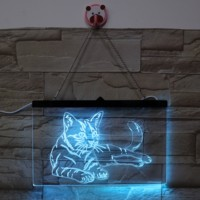 cat signboard 3d lamp edge signboard table night light 3d led lighting signboard lamp for hotel bar