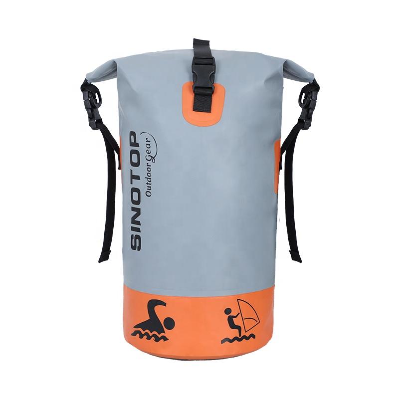 Personalizada de fábrica de logotipo OEM PVC 20L Camping bote flotante senderismo Kayak ligero bolso seco impermeable mochila con correas dobles